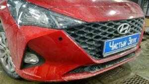 установка сигнализации и парктроников на Hyundai Solaris 3