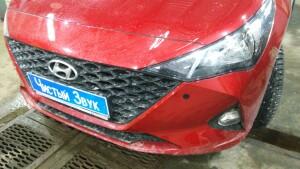 установка сигнализации и парктроников на Hyundai Solaris 5